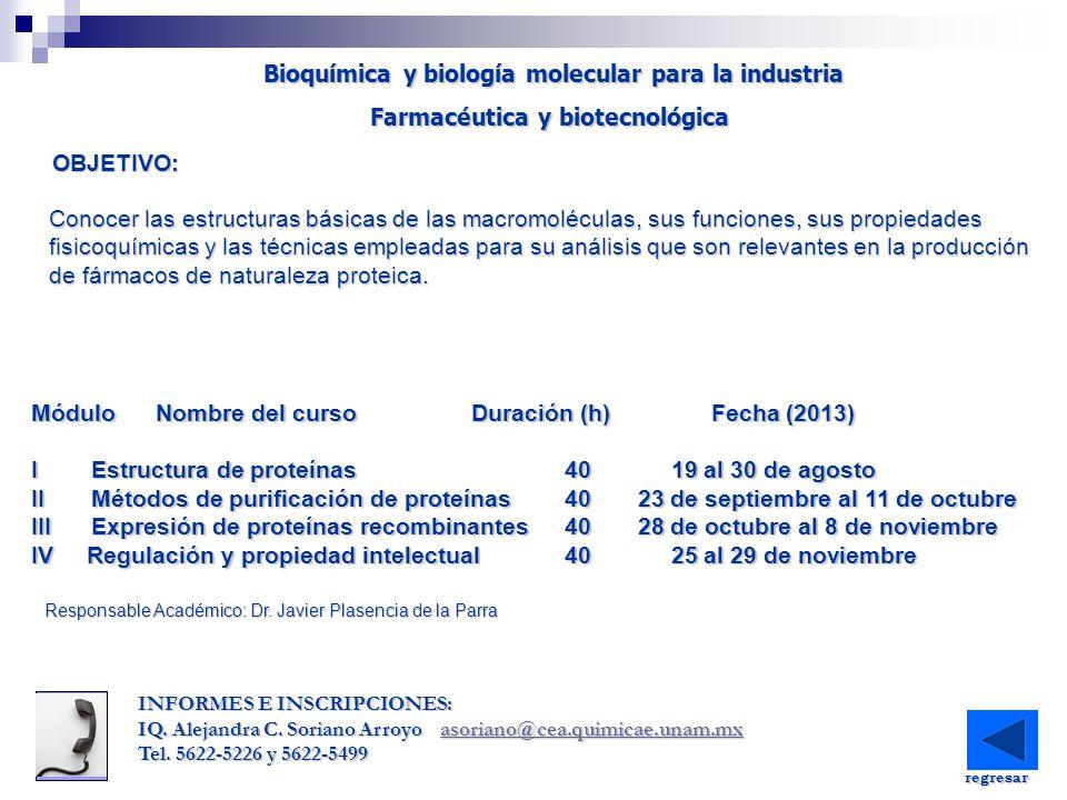 Módulo Nombre del curso Duración (h) Fecha (2013) I Estructura de proteínas40 19 al 30 de agosto II Métodos de purificación de proteínas40 23 de septi