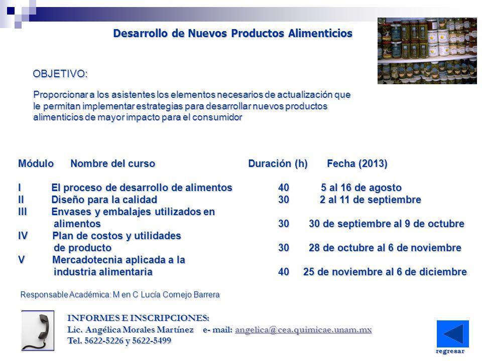 Desarrollo de Nuevos Productos Alimenticios Proporcionar a los asistentes los elementos necesarios de actualización que le permitan implementar estrat