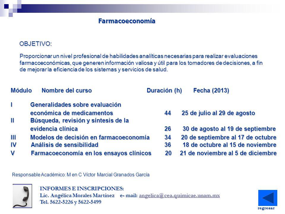 Módulo Nombre del curso Duración (h) Fecha (2013) IQuímica de los alimentos 20 26 al 30 de agosto IQuímica de los alimentos 20 26 al 30 de agosto IIContaminantes de los alimentos 20 9 al 13 de septiembre IIContaminantes de los alimentos 20 9 al 13 de septiembre IIIMarco regulatorio aplicable a inocuidad IIIMarco regulatorio aplicable a inocuidad alimentaria 20 23 al 27 de septiembre IVLas bases de la inocuidad 40 14 al 25 de octubre IVLas bases de la inocuidad 40 14 al 25 de octubre VSistemas de inocuidad alimentaria y su VSistemas de inocuidad alimentaria y su implementación 40 11 al 22 de noviembre VIEvaluación de un sistema de inocuidad VIEvaluación de un sistema de inocuidad alimentaria 20 2 al 6 de diciembre OBJETIVO: Inocuidad alimentaria Inocuidad alimentaria Preparar a los asistentes a través de la provisión de conocimiento y herramientas necesarias para el desarrollo, implementación y evaluación de sistemas de inocuidad alimentaria en organizaciones que procesan y/o manejan alimentos INFORMES E INSCRIPCIONES: IQ.