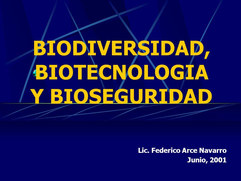 BIODIVERSIDAD, BIOTECNOLOGIA Y BIOSEGURIDAD Lic. Federico Arce Navarro Junio, 2001