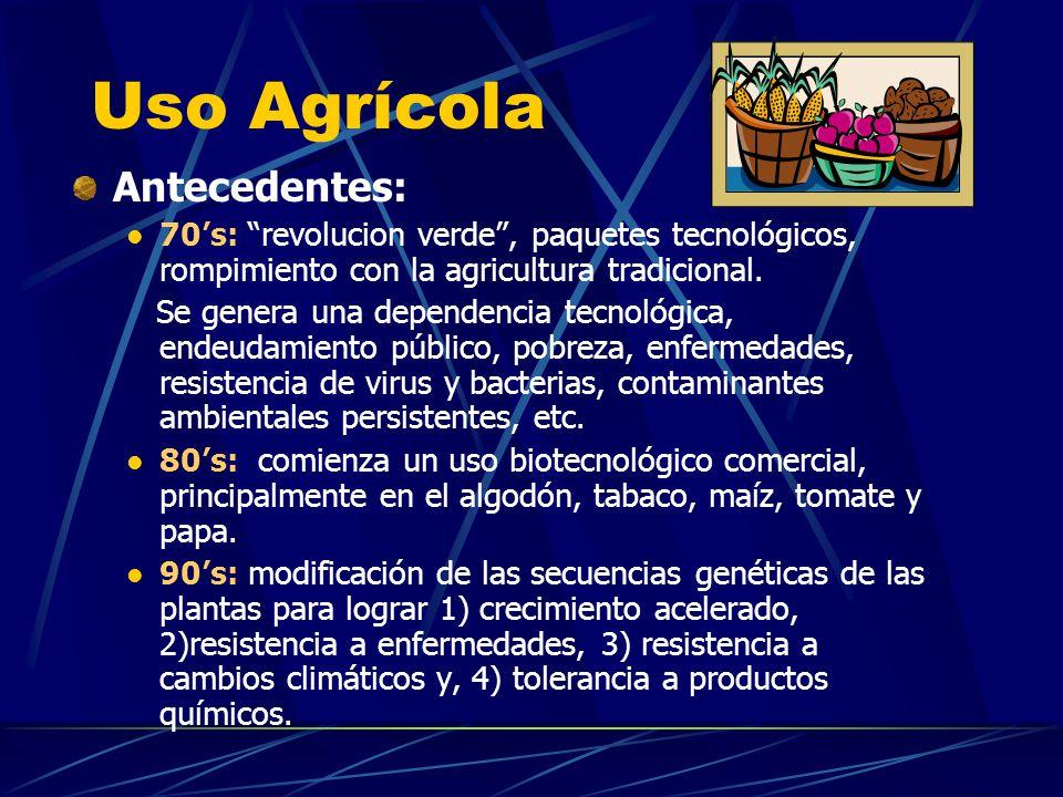 Uso Agrícola Antecedentes: 70s: revolucion verde, paquetes tecnológicos, rompimiento con la agricultura tradicional. Se genera una dependencia tecnoló