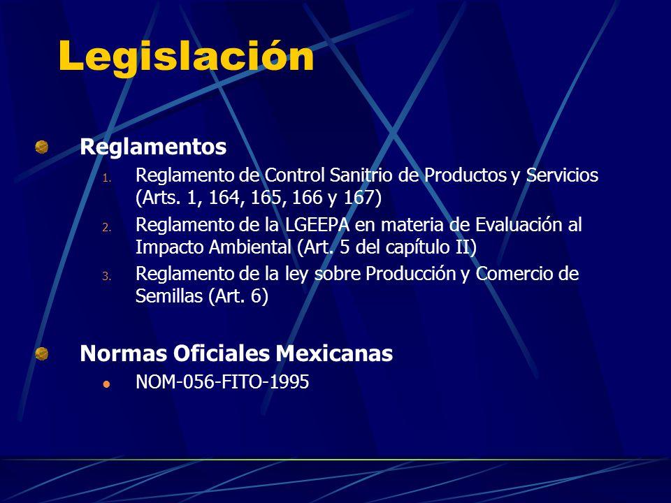 Reglamentos 1. Reglamento de Control Sanitrio de Productos y Servicios (Arts. 1, 164, 165, 166 y 167) 2. Reglamento de la LGEEPA en materia de Evaluac