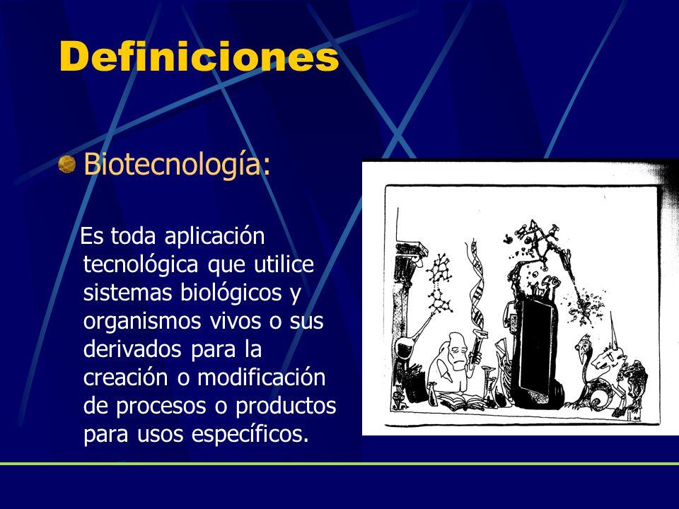 Definiciones Biotecnología: Es toda aplicación tecnológica que utilice sistemas biológicos y organismos vivos o sus derivados para la creación o modif