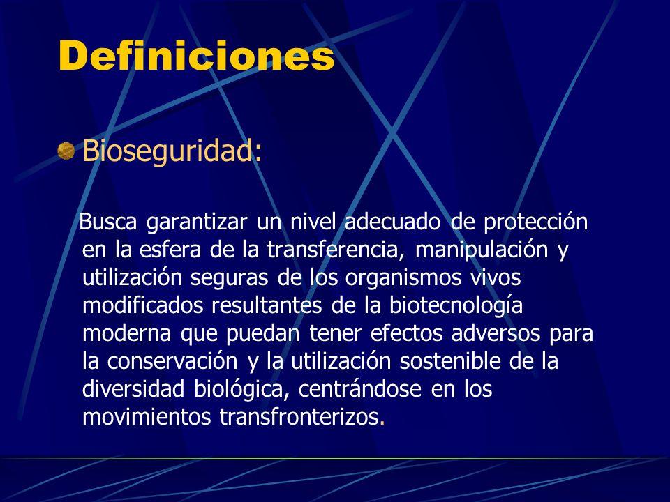 Definiciones Bioseguridad: Busca garantizar un nivel adecuado de protección en la esfera de la transferencia, manipulación y utilización seguras de lo
