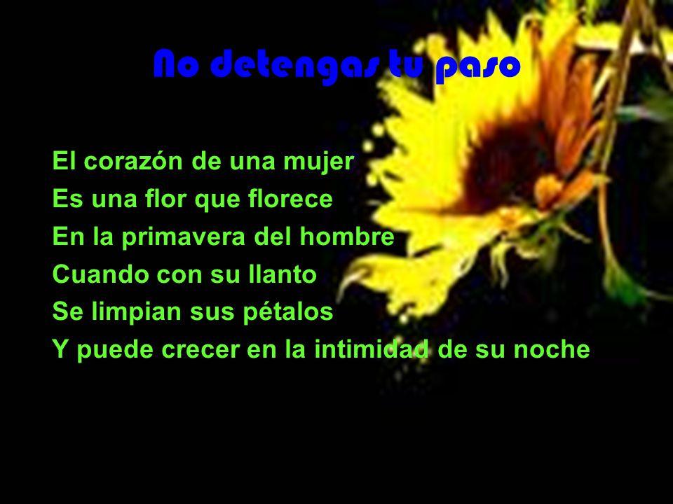 No detengas tu paso El corazón de una mujer Es una flor que florece En la primavera del hombre Cuando con su llanto Se limpian sus pétalos Y puede crecer en la intimidad de su noche