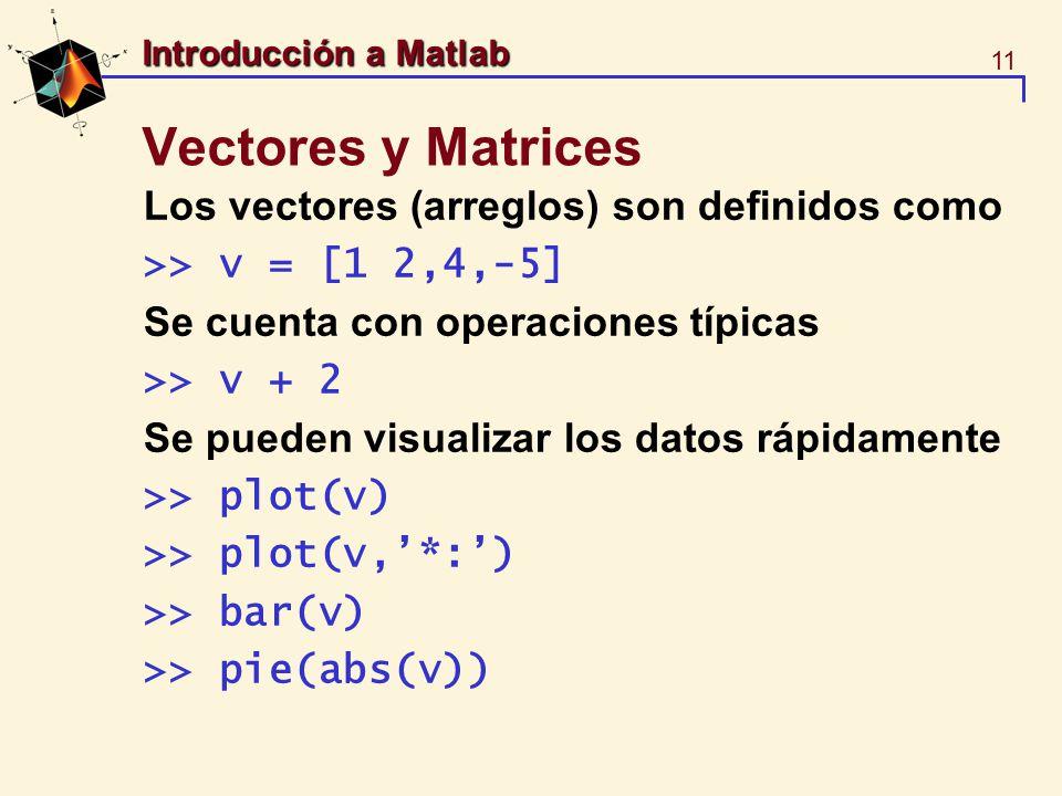 11 Introducción a Matlab Vectores y Matrices Los vectores (arreglos) son definidos como >> v = [1 2,4,-5] Se cuenta con operaciones típicas >> v + 2 S