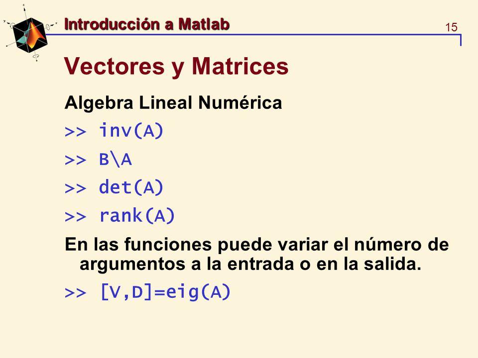 15 Introducción a Matlab Vectores y Matrices Algebra Lineal Numérica >> inv(A) >> B\A >> det(A) >> rank(A) En las funciones puede variar el número de