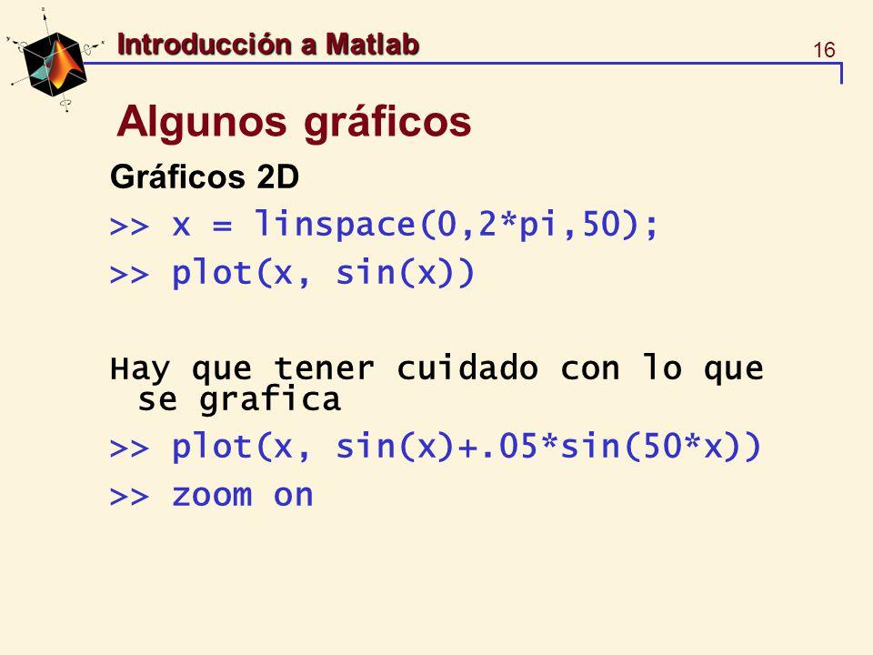 16 Introducción a Matlab Algunos gráficos Gráficos 2D >> x = linspace(0,2*pi,50); >> plot(x, sin(x)) Hay que tener cuidado con lo que se grafica >> pl