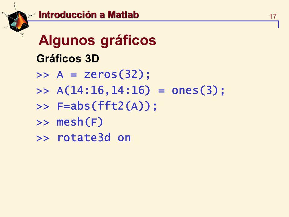 17 Introducción a Matlab Algunos gráficos Gráficos 3D >> A = zeros(32); >> A(14:16,14:16) = ones(3); >> F=abs(fft2(A)); >> mesh(F) >> rotate3d on