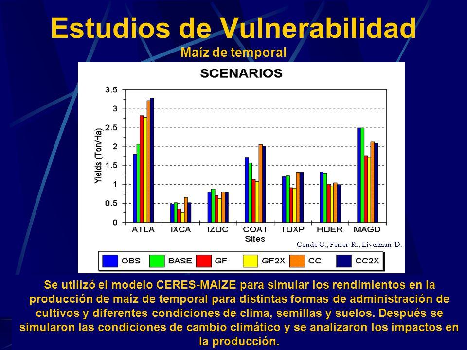 Estudios de Vulnerabilidad Maíz de temporal Se utilizó el modelo CERES-MAIZE para simular los rendimientos en la producción de maíz de temporal para d