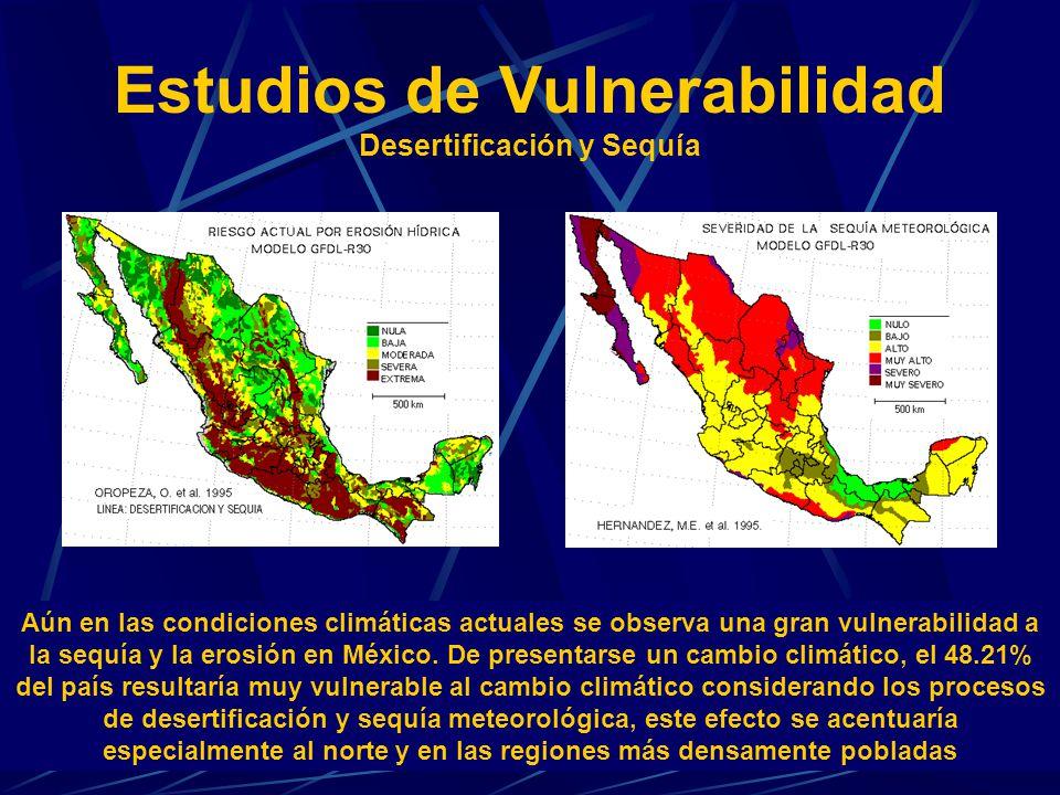 Estudios de Vulnerabilidad Desertificación y Sequía Aún en las condiciones climáticas actuales se observa una gran vulnerabilidad a la sequía y la ero