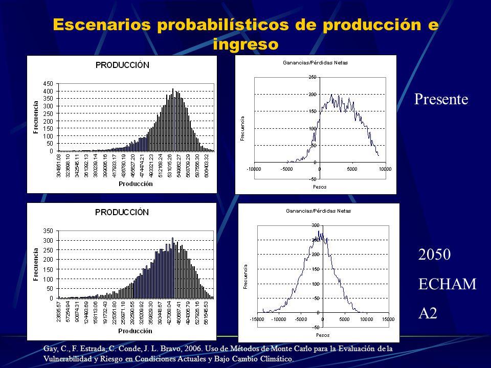 Escenarios probabilísticos de producción e ingreso Presente 2050 ECHAM A2 Gay, C., F. Estrada, C. Conde, J. L. Bravo, 2006. Uso de Métodos de Monte Ca