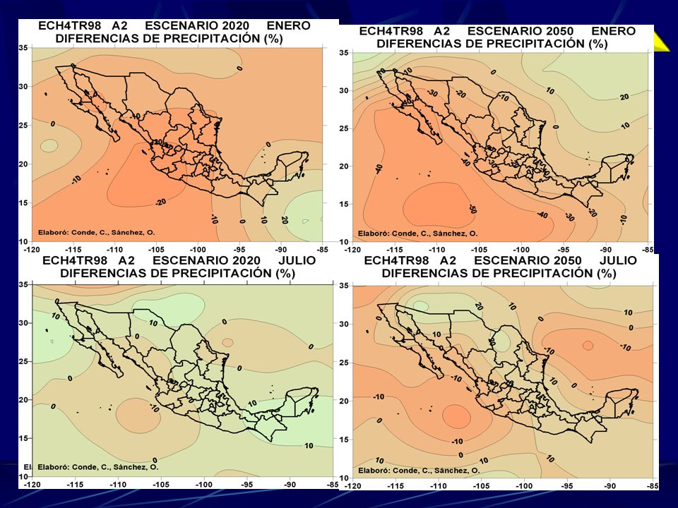 Impactos Potenciales de Cambio Climático en México Agua (2030) Baja California y Sonora situación crítica La región de Sinaloa y la Región Hidrológica del Lerma fuerte presión sobre el recurso.