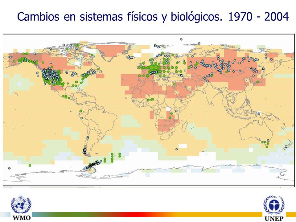 Cambios en sistemas físicos y biológicos. 1970 - 2004