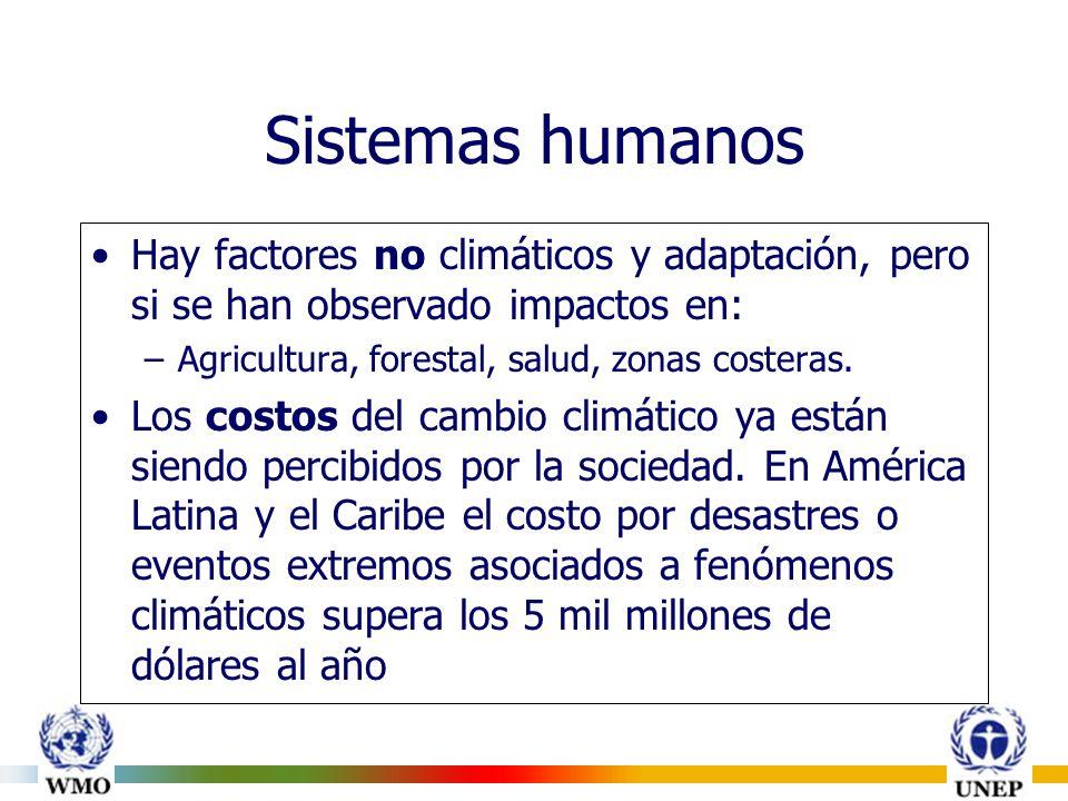 Sistemas humanos Hay factores no climáticos y adaptación, pero si se han observado impactos en: –Agricultura, forestal, salud, zonas costeras.