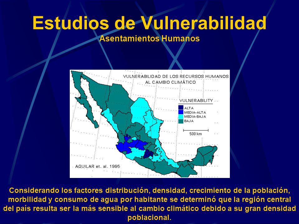 Estudios de Vulnerabilidad Asentamientos Humanos Considerando los factores distribución, densidad, crecimiento de la población, morbilidad y consumo d