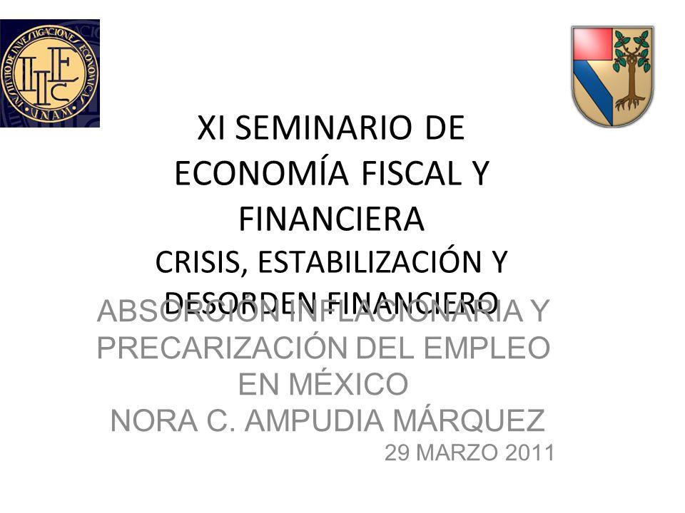 XI SEMINARIO DE ECONOMÍA FISCAL Y FINANCIERA CRISIS, ESTABILIZACIÓN Y DESORDEN FINANCIERO ABSORCIÓN INFLACIONARIA Y PRECARIZACIÓN DEL EMPLEO EN MÉXICO NORA C.