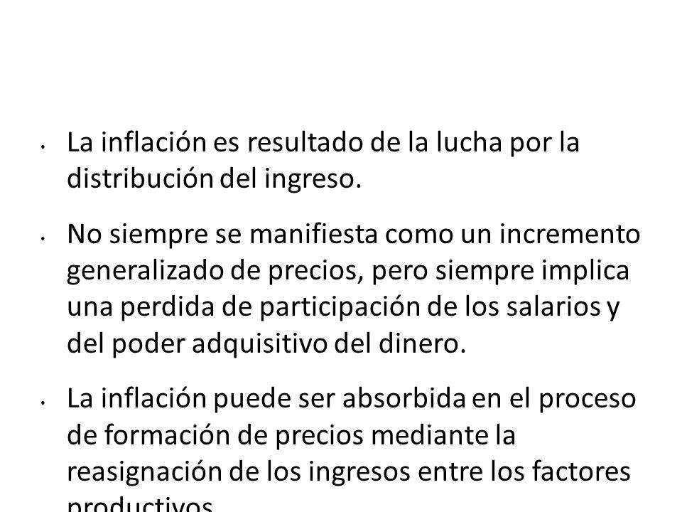 La inflación es resultado de la lucha por la distribución del ingreso.