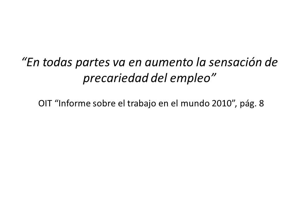 En todas partes va en aumento la sensación de precariedad del empleo OIT Informe sobre el trabajo en el mundo 2010, pág.