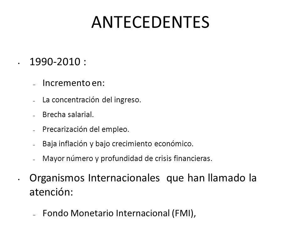 ANTECEDENTES 1990-2010 : – Incremento en: – La concentración del ingreso.
