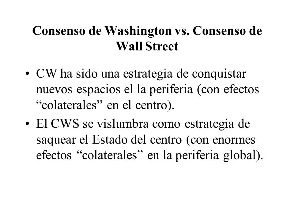 Consenso de Washington vs.