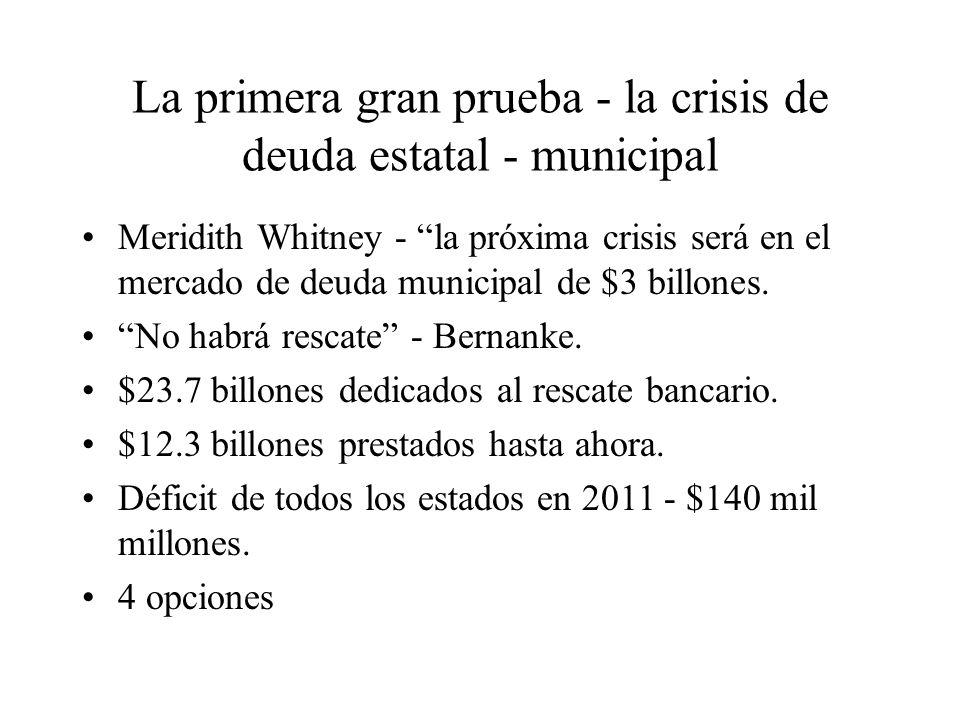 La primera gran prueba - la crisis de deuda estatal - municipal Meridith Whitney - la próxima crisis será en el mercado de deuda municipal de $3 billones.