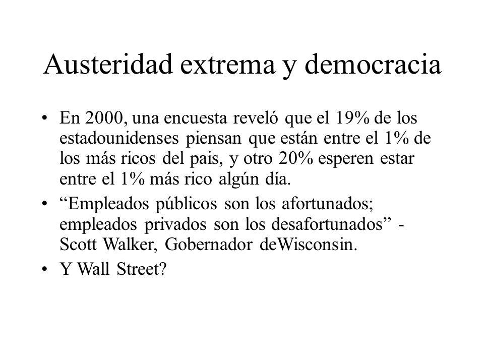 Austeridad extrema y democracia En 2000, una encuesta reveló que el 19% de los estadounidenses piensan que están entre el 1% de los más ricos del pais, y otro 20% esperen estar entre el 1% más rico algún día.