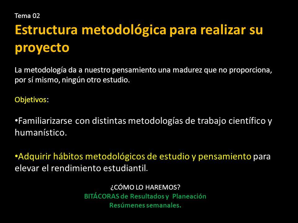 Tema 02 Estructura metodológica para realizar su proyecto La metodología da a nuestro pensamiento una madurez que no proporciona, por sí mismo, ningún