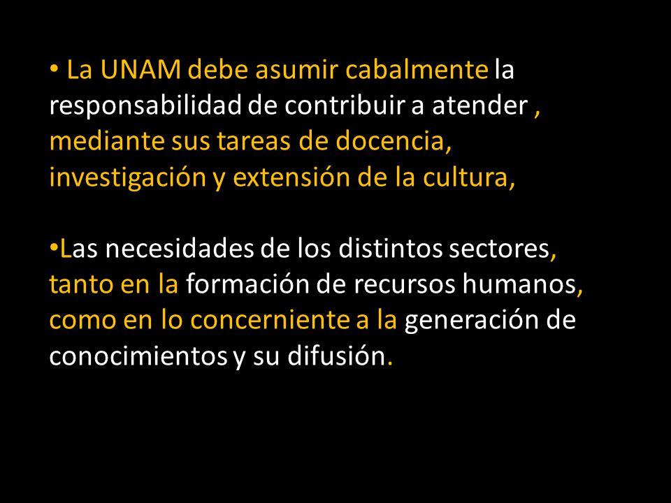 La UNAM debe asumir cabalmente la responsabilidad de contribuir a atender, mediante sus tareas de docencia, investigación y extensión de la cultura, L