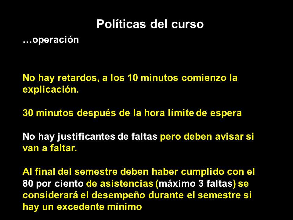 Políticas del curso …operación No hay retardos, a los 10 minutos comienzo la explicación. 30 minutos después de la hora límite de espera No hay justif