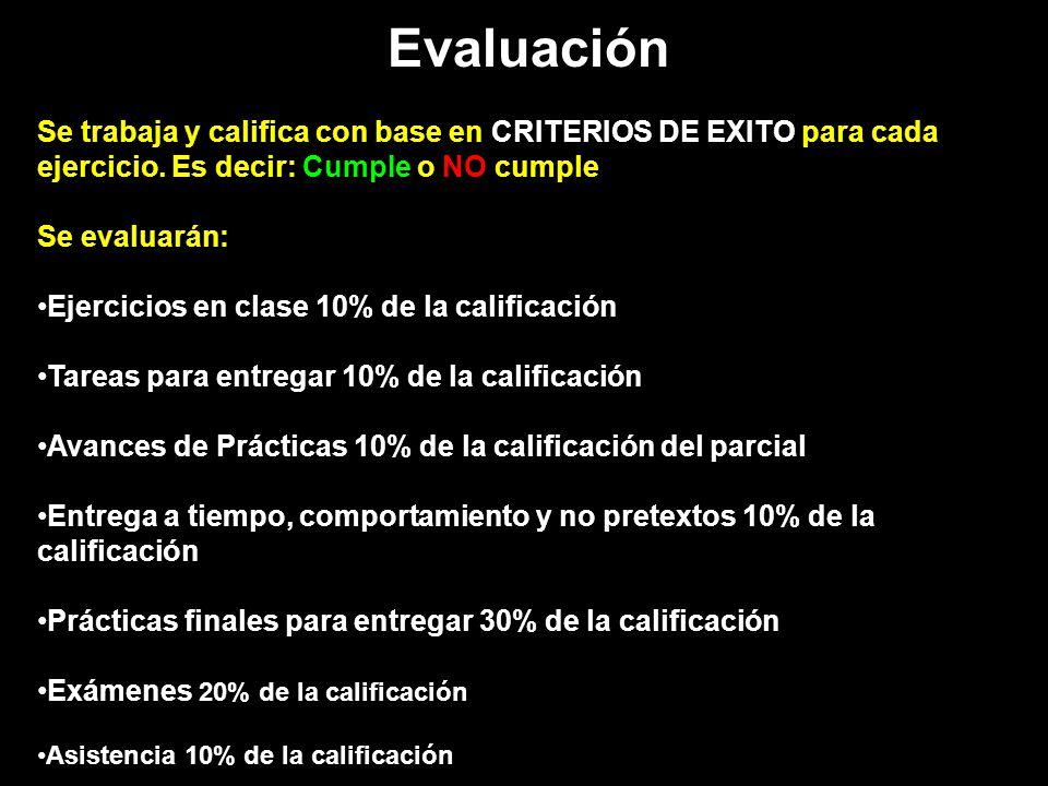 Evaluación Se trabaja y califica con base en CRITERIOS DE EXITO para cada ejercicio. Es decir: Cumple o NO cumple Se evaluarán: Ejercicios en clase 10