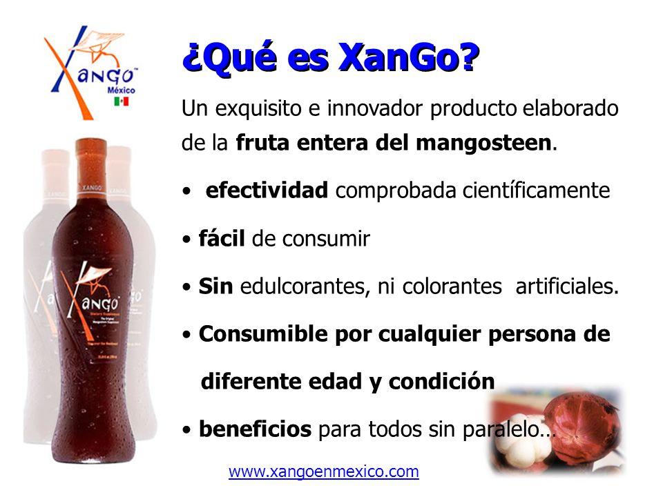 ¿Qué es XanGo? Un exquisito e innovador producto elaborado de la fruta entera del mangosteen. efectividad comprobada científicamente fácil de consumir
