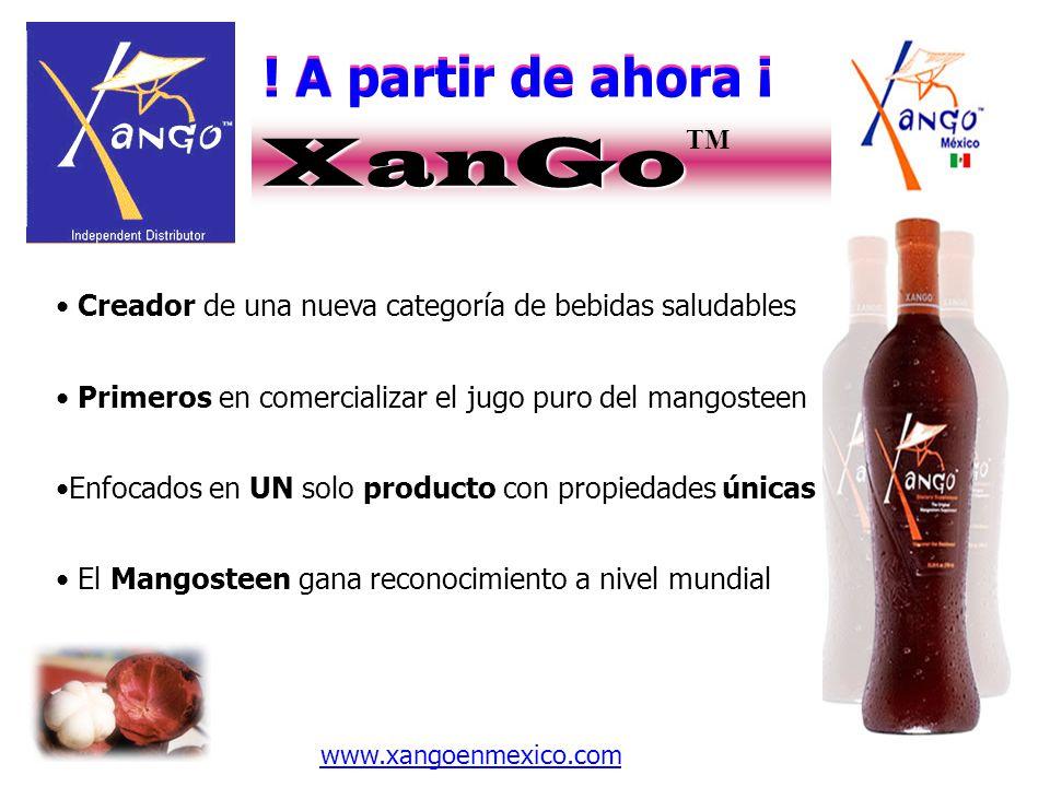! A partir de ahora ¡ XanGo XanGo TM Creador de una nueva categoría de bebidas saludables Primeros en comercializar el jugo puro del mangosteen Enfoca