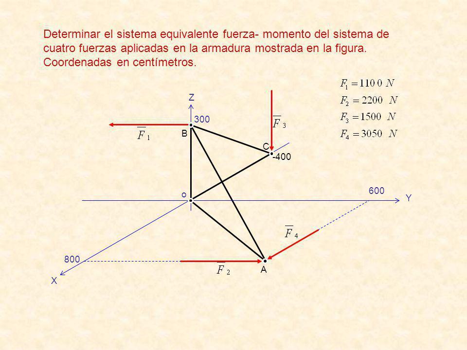 Determinar el sistema equivalente fuerza- momento del sistema de cuatro fuerzas aplicadas en la armadura mostrada en la figura.