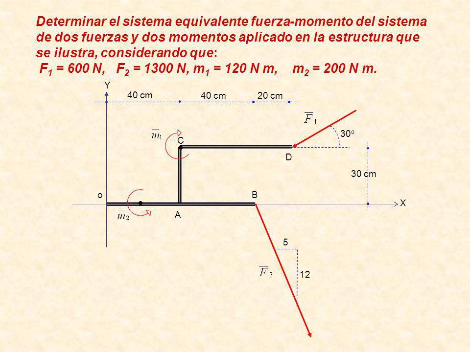D C B A 30 cm 20 cm40 cm 12 5 30 o Determinar el sistema equivalente fuerza-momento del sistema de dos fuerzas y dos momentos aplicado en la estructura que se ilustra, considerando que: F 1 = 600 N, F 2 = 1300 N, m 1 = 120 N m, m 2 = 200 N m.