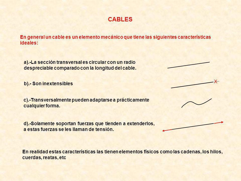 X En general un cable es un elemento mecánico que tiene las siguientes características ideales: a).-La sección transversal es circular con un radio despreciable comparado con la longitud del cable.