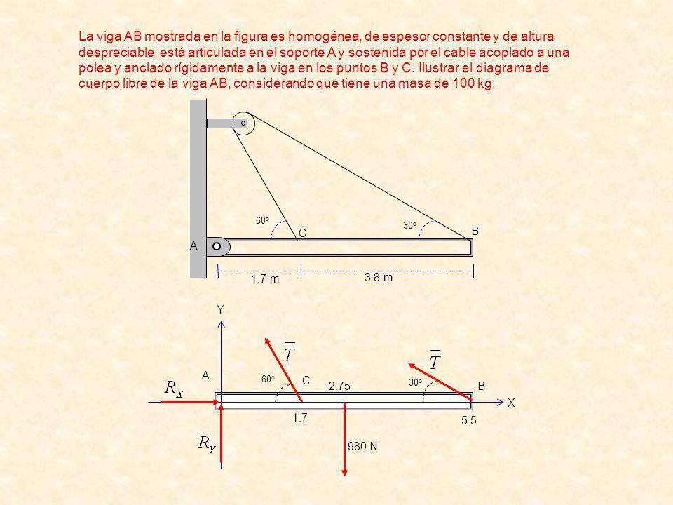 60 o 30 o A B C 1.7 2.75 5.5 980 N Y X 60 o 30 o B C 1.7 m 3.8 m A La viga AB mostrada en la figura es homogénea, de espesor constante y de altura despreciable, está articulada en el soporte A y sostenida por el cable acoplado a una polea y anclado rígidamente a la viga en los puntos B y C.