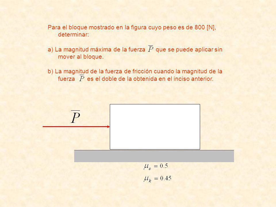 Para el bloque mostrado en la figura cuyo peso es de 800 [N], determinar: a) La magnitud máxima de la fuerza que se puede aplicar sin mover al bloque.