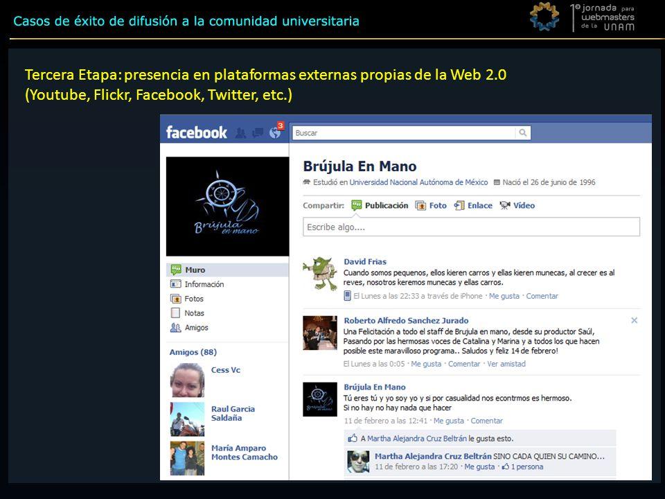 Tercera Etapa Tercera Etapa: presencia en plataformas externas propias de la Web 2.0 (Youtube, Flickr, Facebook, Twitter, etc.)