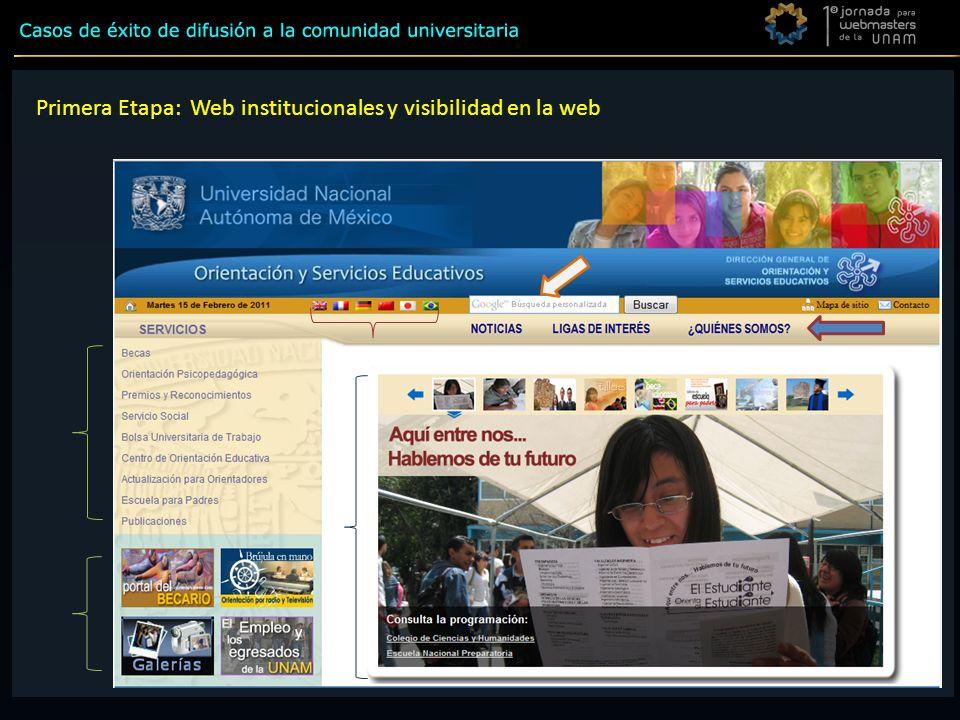 Primera Etapa Primera Etapa: Web institucionales y visibilidad en la web
