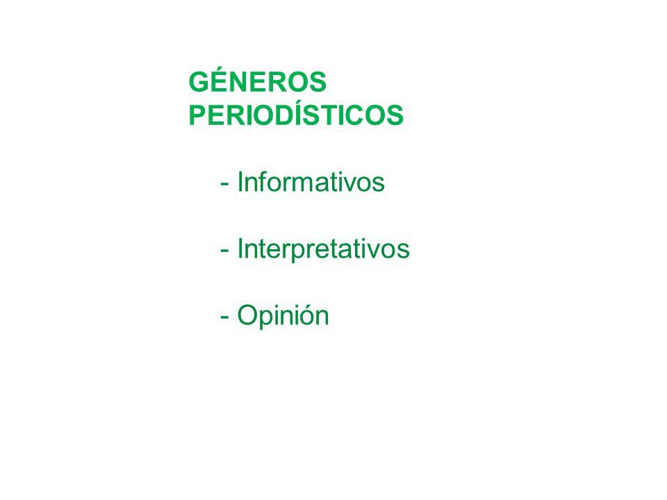 GÉNEROS PERIODÍSTICOS - Informativos - Interpretativos - Opinión