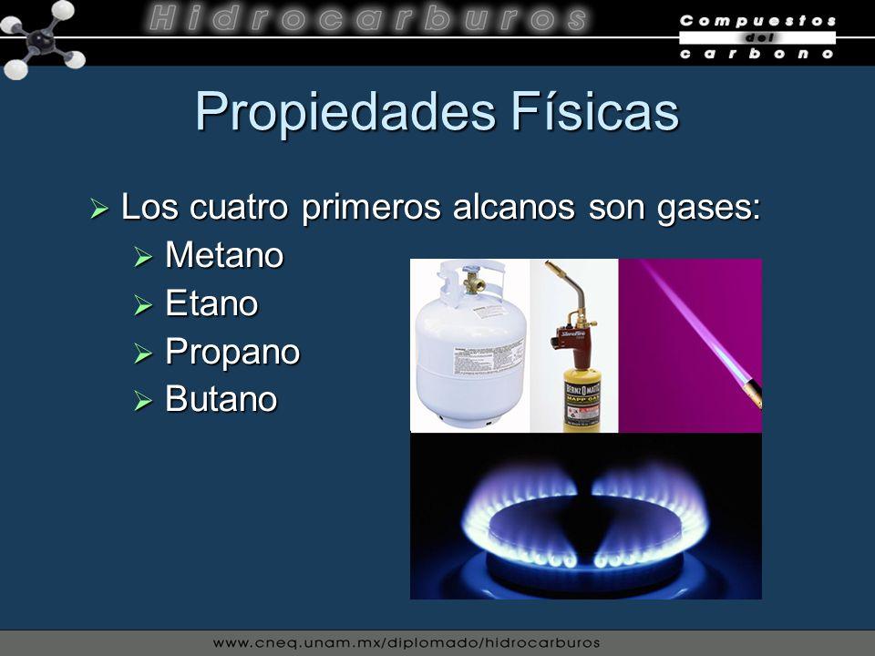 Propiedades Físicas Los cuatro primeros alcanos son gases: Los cuatro primeros alcanos son gases: Metano Metano Etano Etano Propano Propano Butano But
