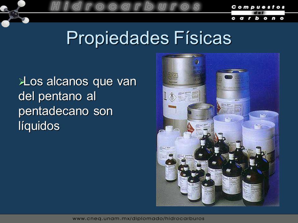Propiedades Físicas Los alcanos que van del pentano al pentadecano son líquidos Los alcanos que van del pentano al pentadecano son líquidos