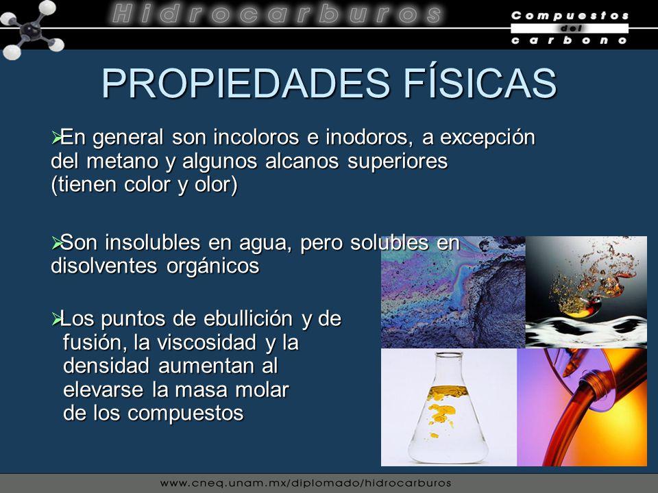 PROPIEDADES FÍSICAS En general son incoloros e inodoros, a excepción del metano y algunos alcanos superiores (tienen color y olor) En general son inco