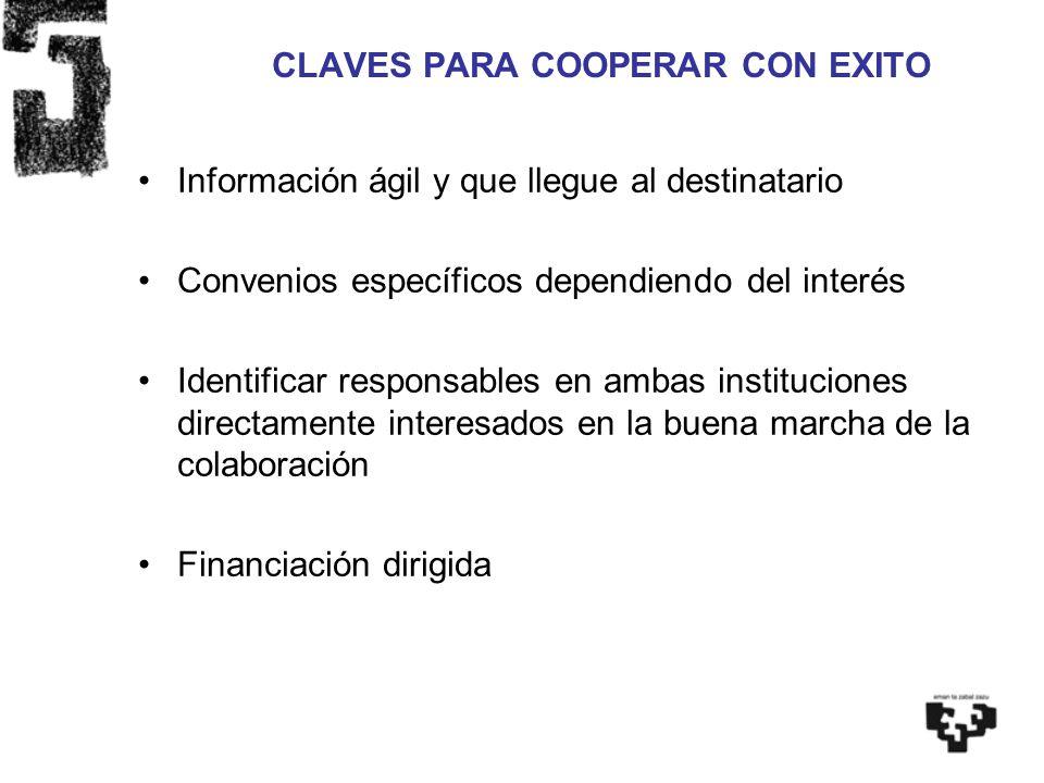 CLAVES PARA COOPERAR CON EXITO Información ágil y que llegue al destinatario Convenios específicos dependiendo del interés Identificar responsables en