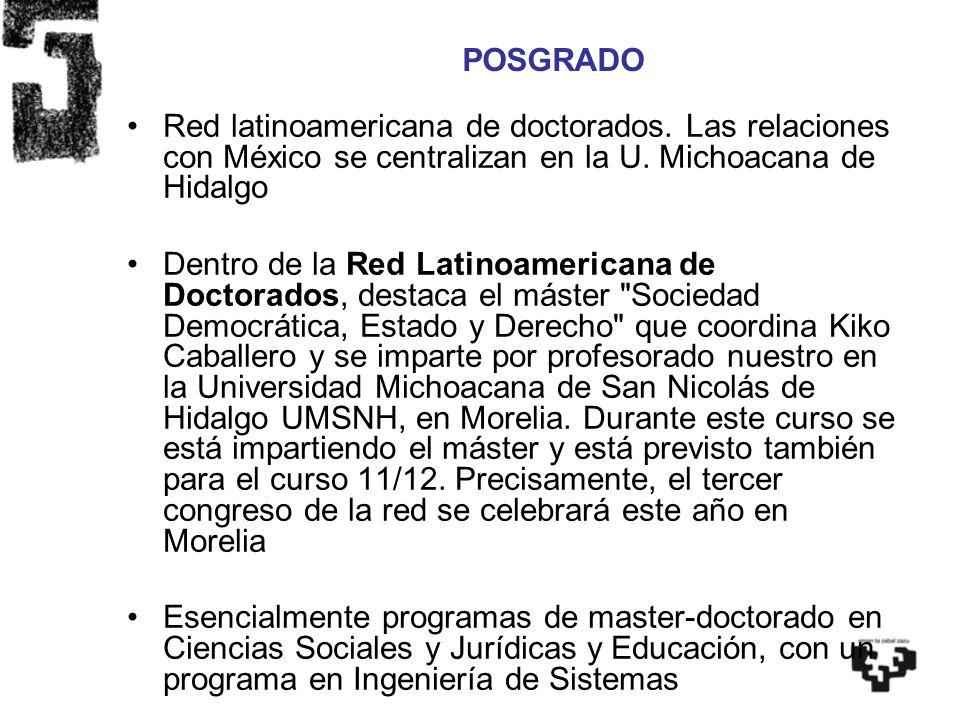 Red latinoamericana de doctorados. Las relaciones con México se centralizan en la U. Michoacana de Hidalgo Dentro de la Red Latinoamericana de Doctora