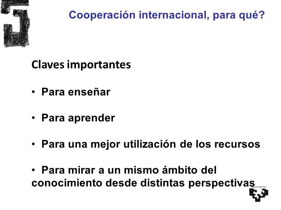 Cooperación internacional, para qué? Claves importantes Para enseñar Para aprender Para una mejor utilización de los recursos Para mirar a un mismo ám