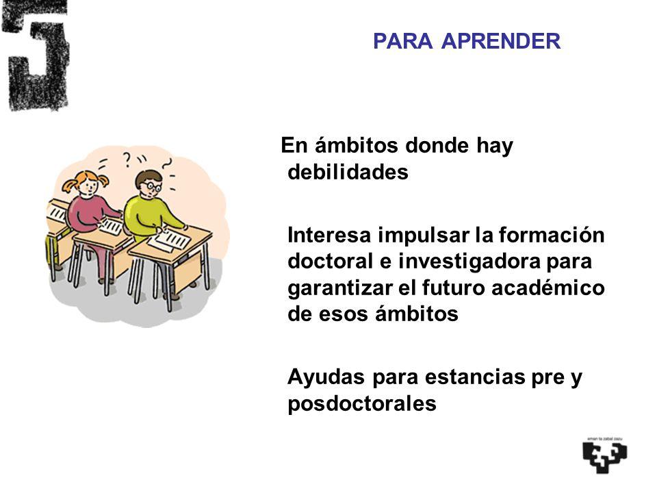 En ámbitos donde hay debilidades Interesa impulsar la formación doctoral e investigadora para garantizar el futuro académico de esos ámbitos Ayudas pa