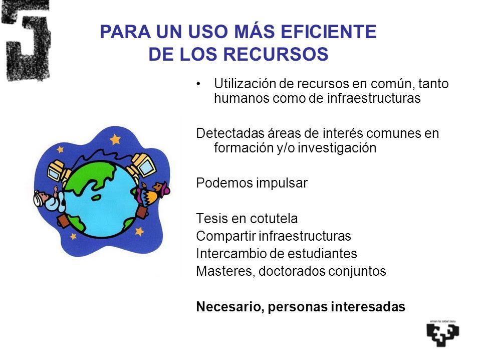Utilización de recursos en común, tanto humanos como de infraestructuras Detectadas áreas de interés comunes en formación y/o investigación Podemos im