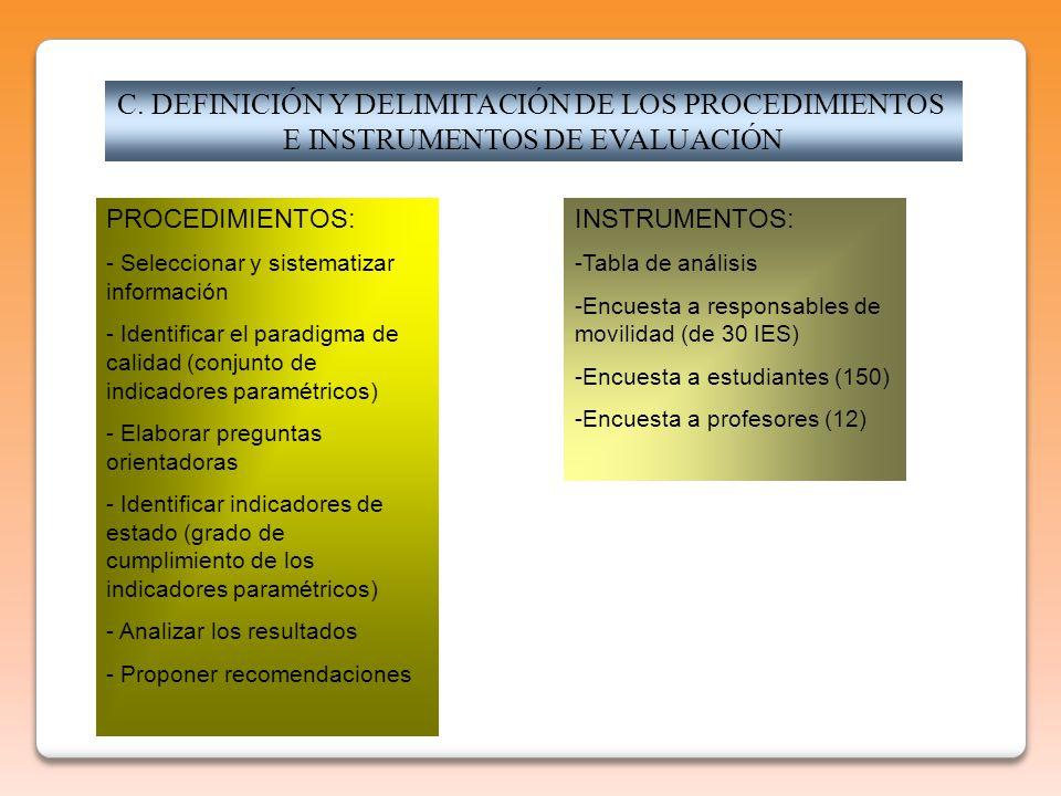 C. DEFINICIÓN Y DELIMITACIÓN DE LOS PROCEDIMIENTOS E INSTRUMENTOS DE EVALUACIÓN PROCEDIMIENTOS: - Seleccionar y sistematizar información - Identificar